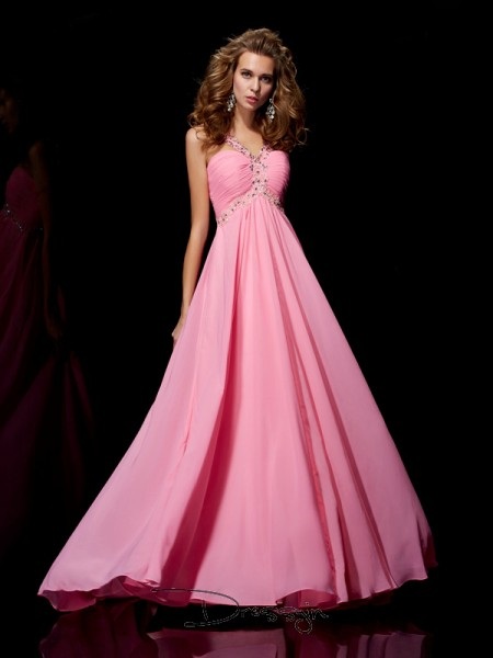 A-Line/Princess Sleeveless Beading Sweep/Brush Train Chiffon Straps Dresses