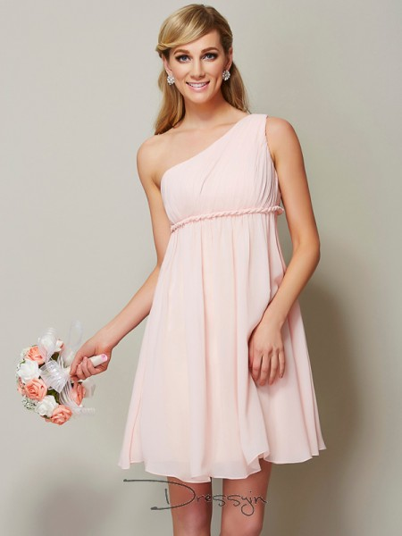A-Line/Princess Sleeveless Knee-Length Chiffon One-Shoulder Bridesmaid Dresses