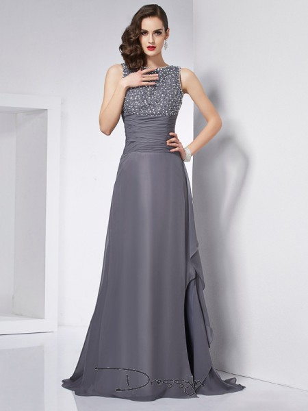 A-Line/Princess Sleeveless Beading Sweep/Brush Train Chiffon Jewel Dresses
