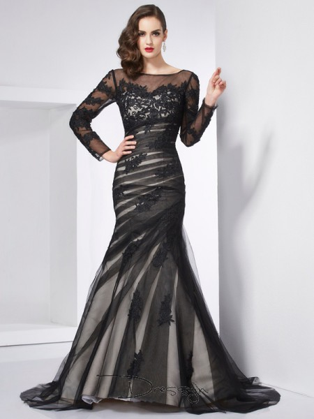 Trumpet/Mermaid Long Sleeves Applique Sweep/Brush Train Net Satin Jewel Dresses