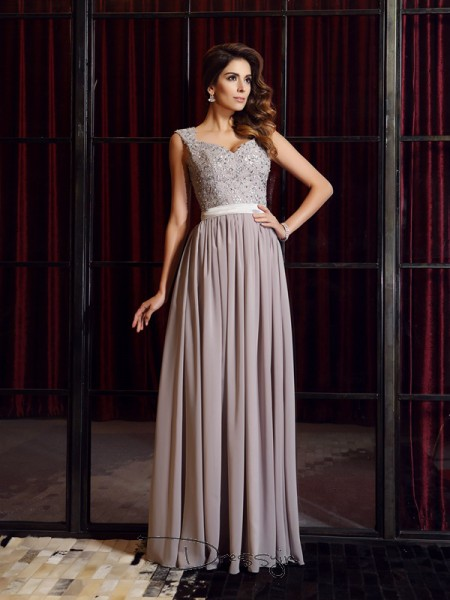 A-Line/Princess Sleeveless Chiffon Applique Straps Floor-Length Dresses
