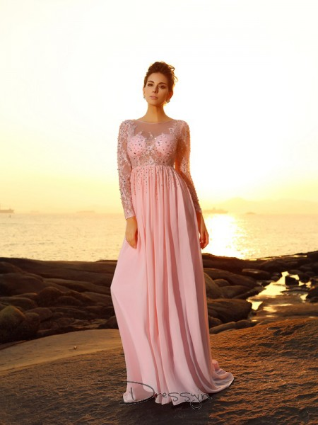 A-Line/Princess Long Sleeves Chiffon Beading Bateau Sweep/Brush Train Dresses