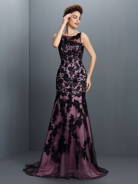 Trumpet/Mermaid Sleeveless Elastic Woven Satin Applique Bateau Floor-Length Dresses