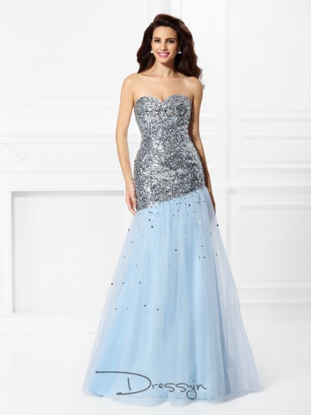 Trumpet/Mermaid Sleeveless Satin Sequin Sweetheart Floor-Length Dresses