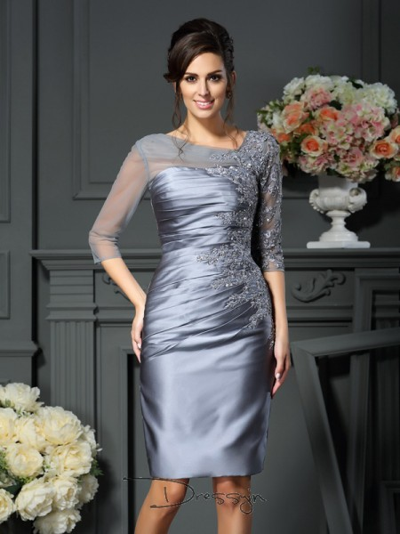Sheath/Column 1/2 Sleeves Satin Beading Scoop Knee-Length Mother of the Bride Dresses