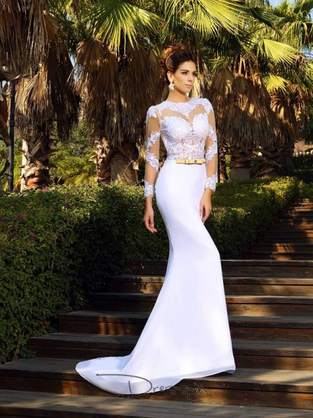 Sheath/Column Long Sleeves Satin Applique Scoop Court Train Wedding Dresses