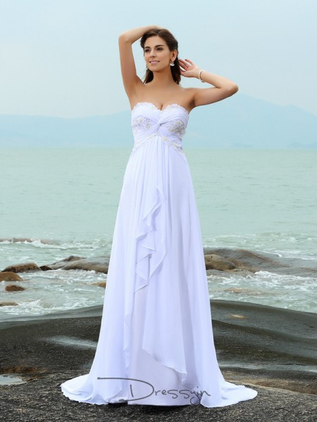 A-Line/Princess Sleeveless Chiffon Beading Sweetheart Sweep/Brush Train Wedding Dresses