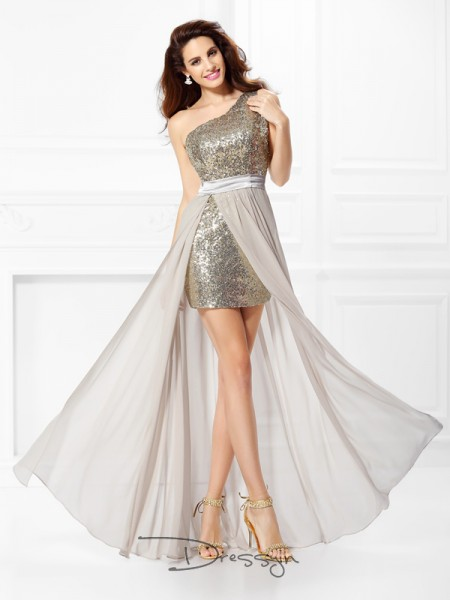 A-Line/Princess Sleeveless Chiffon Sequin One-Shoulder Floor-Length Dresses
