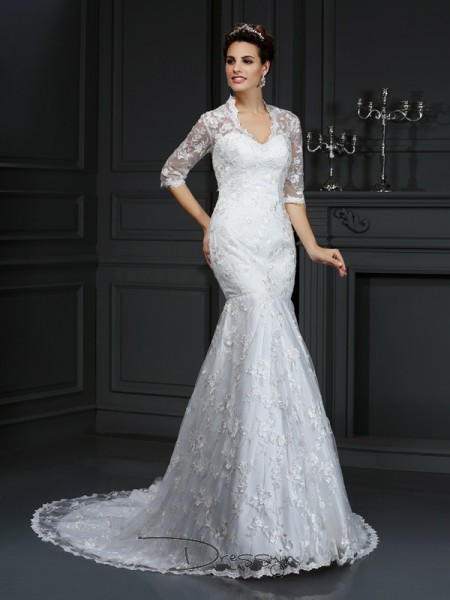Trumpet/Mermaid 1/2 Sleeves Lace Lace V-neck Court Train Wedding Dresses