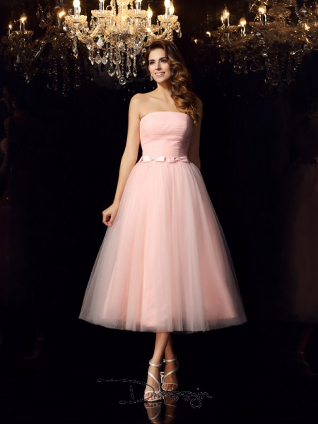 Ball Gown Sleeveless Satin Belt Strapless Tea-Length Dresses