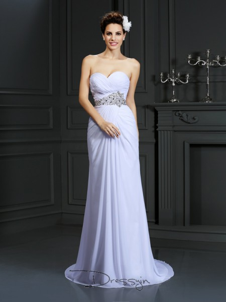 Sheath/Column Sleeveless Chiffon Beading Sweetheart Chapel Train Wedding Dresses