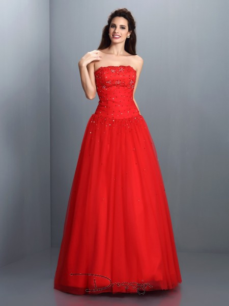 Ball Gown Sleeveless Organza Beading Strapless Floor-Length Dresses