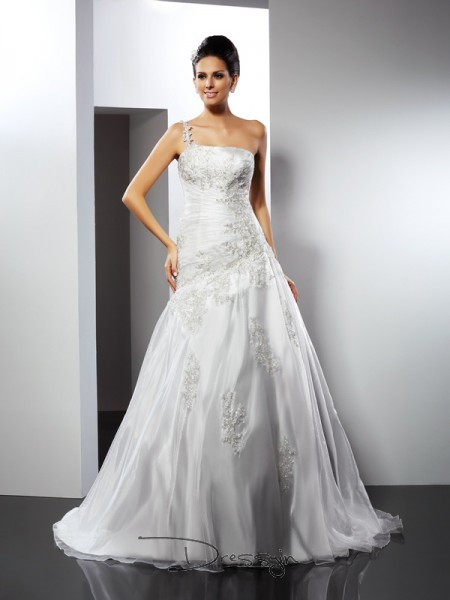 A-Line/Princess Sleeveless Satin Applique One-Shoulder Chapel Train Wedding Dresses