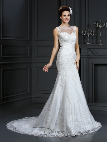 Sheath/Column Sleeveless Satin Lace Bateau Court Train Wedding Dresses