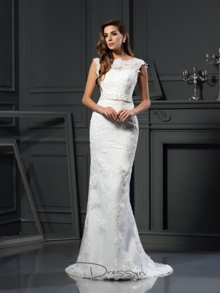 A-Line/Princess Sleeveless Satin Lace Bateau Court Train Wedding Dresses
