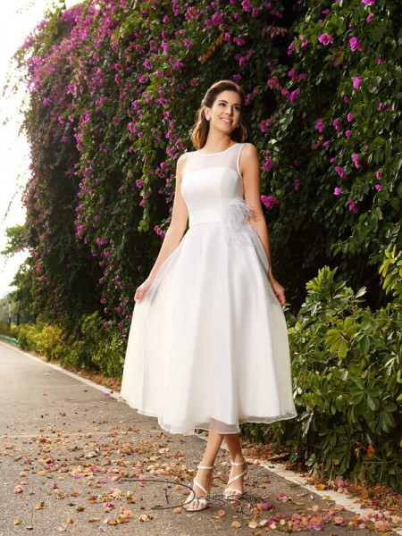 A-Line/Princess Sleeveless Satin Sash/Ribbon/Belt Bateau Ankle-Length Wedding Dresses