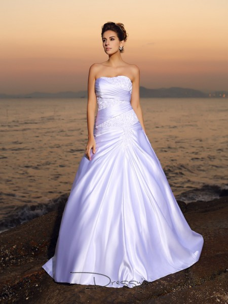 Ball Gown Sleeveless Satin Beading Applique Strapless Court Train Wedding Dresses