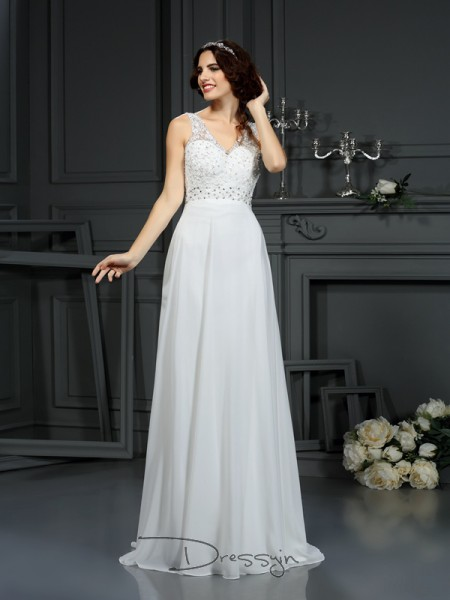 A-Line/Princess Sleeveless Chiffon Lace V-neck Sweep/Brush Train Wedding Dresses