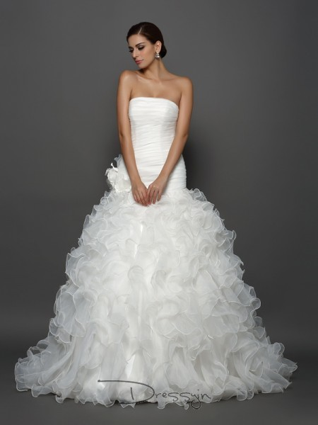 Ball Gown Sleeveless Organza Hand-Made Flower Strapless Cathedral Train Wedding Dresses