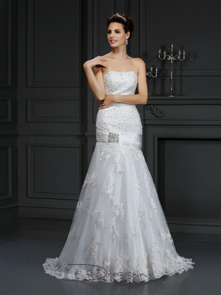 Sheath/Column Sleeveless Satin Applique Strapless Court Train Wedding Dresses