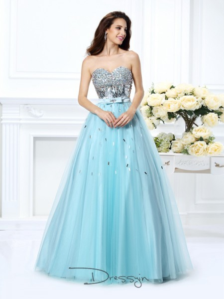 Ball Gown Sleeveless Satin Beading Paillette Sweetheart Floor-Length Dresses