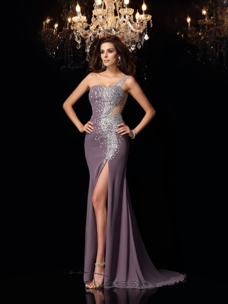 Trumpet/Mermaid Sleeveless Chiffon Rhinestone One-Shoulder Sweep/Brush Train Dresses