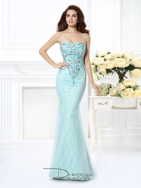 Trumpet/Mermaid Sleeveless Net Beading Lace Sweetheart Floor-Length Dresses