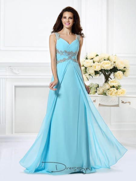 A-Line/Princess Sleeveless Chiffon Beading V-neck Floor-Length Dresses