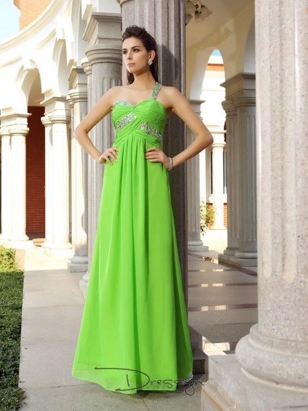 Sheath/Column Sleeveless Chiffon Beading One-Shoulder Floor-Length Dresses