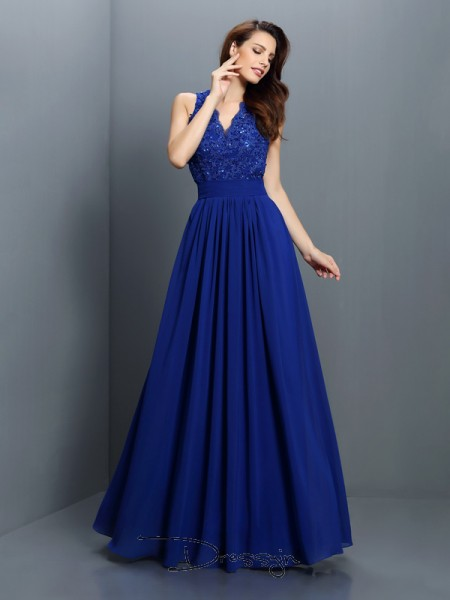 A-Line/Princess Sleeveless Chiffon Applique V-neck Floor-Length Bridesmaid Dresses