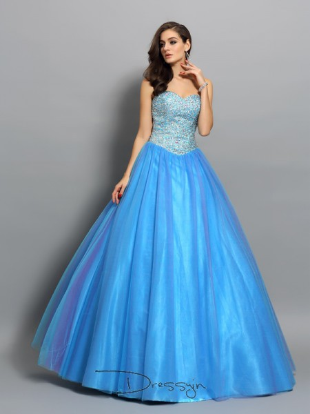 Ball Gown Sleeveless Elastic Woven Satin Beading Sweetheart Floor-Length Dresses