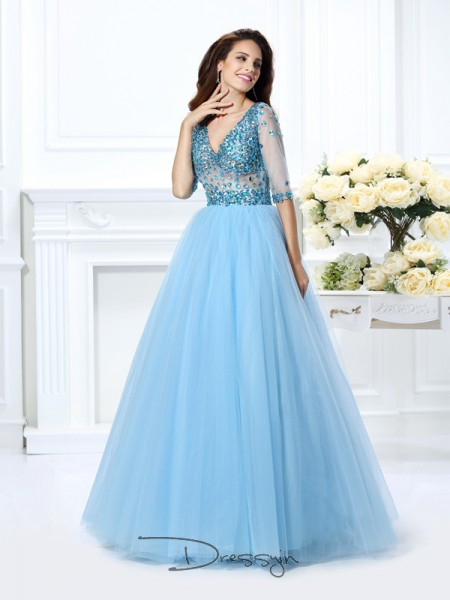 Ball Gown 1/2 Sleeves Satin Beading V-neck Floor-Length Dresses