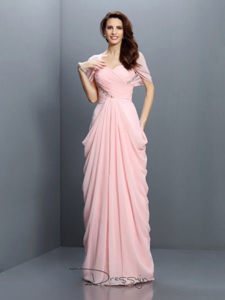 A-Line/Princess Short Sleeves Chiffon Pleats Sweetheart Floor-Length Bridesmaid Dresses