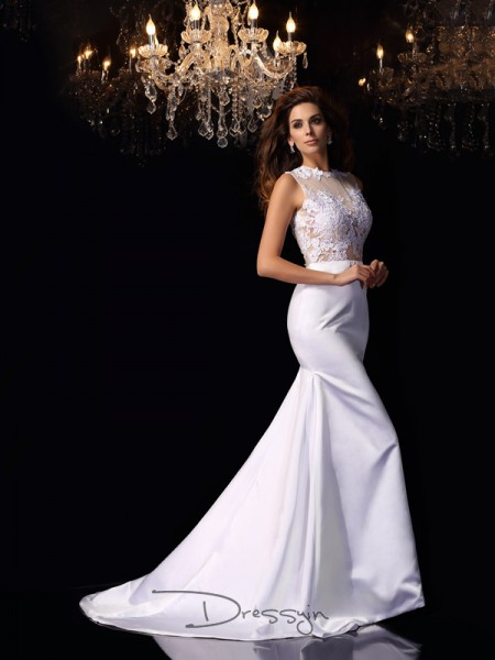 Trumpet/Mermaid Sleeveless Satin Applique High Neck Chapel Train Wedding Dresses