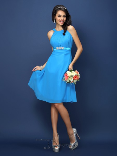 A-Line/Princess Sleeveless Chiffon Sash/Ribbon/Belt Bateau Knee-Length Bridesmaid Dresses