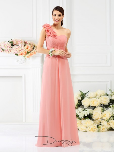 A-Line/Princess Sleeveless Chiffon Hand-Made Flower One-Shoulder Floor-Length Bridesmaid Dresses