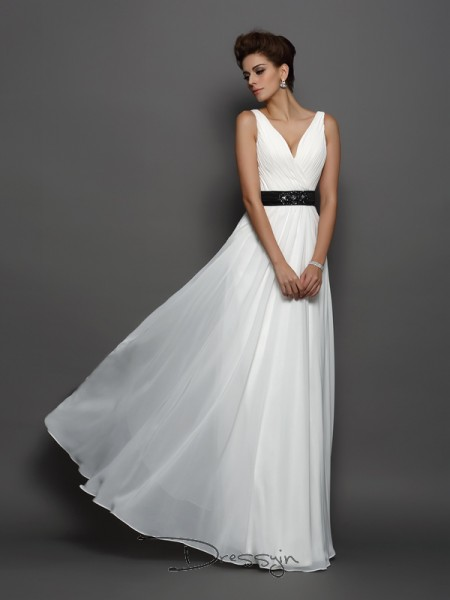 A-Line/Princess Sleeveless Chiffon Sash/Ribbon/Belt V-neck Floor-Length Wedding Dresses