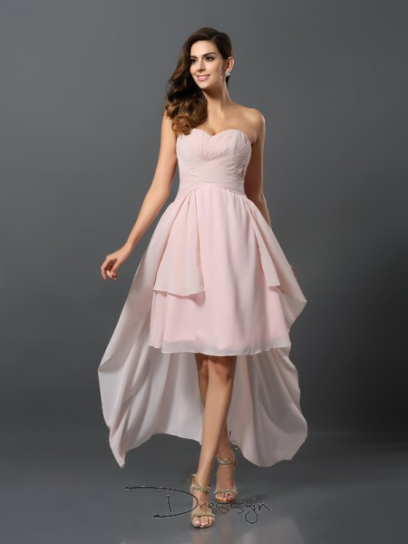 A-Line/Princess Sleeveless Chiffon Pleats Sweetheart Asymmetrical Bridesmaid Dresses