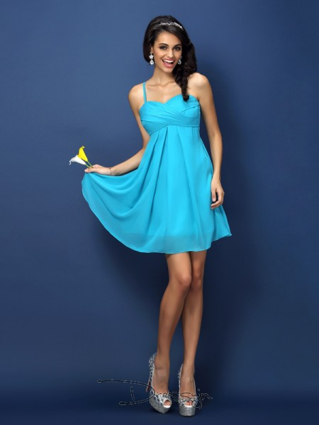 A-Line/Princess Sleeveless Chiffon Pleats Spaghetti Straps Short/Mini Bridesmaid Dresses