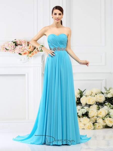 A-Line/Princess Sleeveless Chiffon Pleats Beading Sweetheart Sweep/Brush Train Bridesmaid Dresses