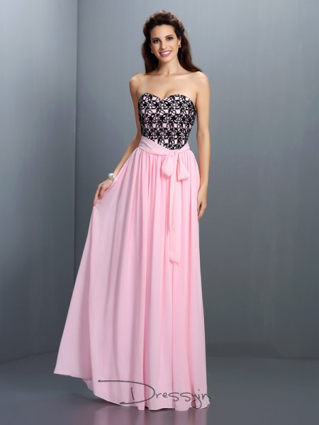 A-Line/Princess Sleeveless Chiffon Lace Sweetheart Floor-Length Dresses