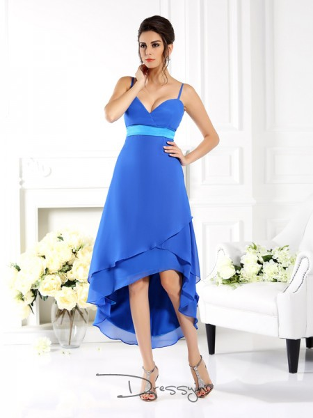 A-Line/Princess Sleeveless Chiffon Ruffles Spaghetti Straps Asymmetrical Bridesmaid Dresses