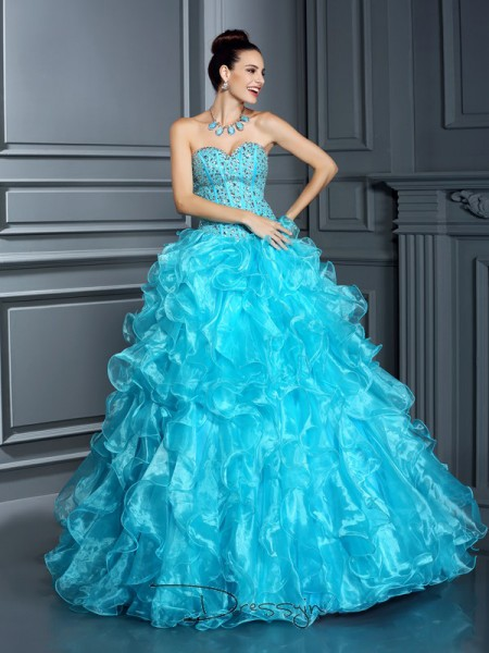 Ball Gown Sleeveless Organza Beading Sweetheart Floor-Length Dresses
