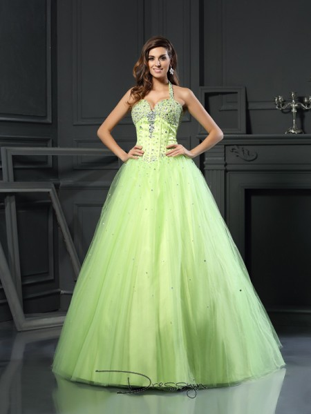 Ball Gown Sleeveless Satin Beading Halter Floor-Length Dresses