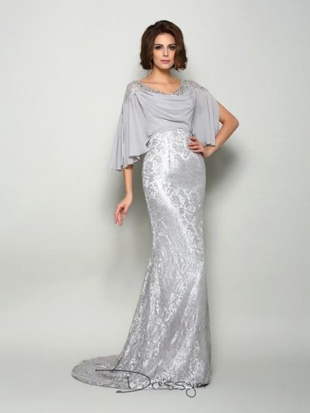 Trumpet/Mermaid 1/2 Sleeves Chiffon Lace Scoop Sweep/Brush Train Mother of the Bride Dresses