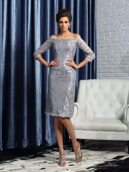Sheath/Column 1/2 Sleeves Satin Lace Off-the-Shoulder Knee-Length Mother of the Bride Dresses