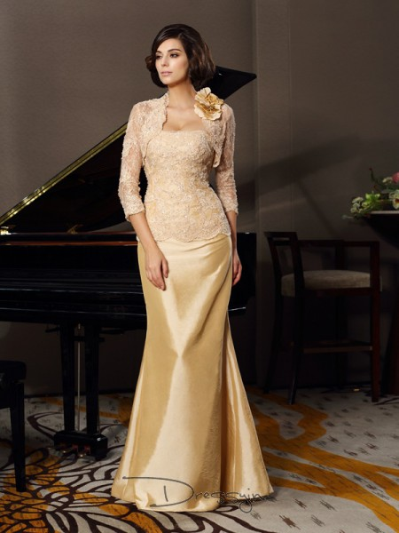 Trumpet/Mermaid Sleeveless Taffeta Lace Sweetheart Floor-Length Mother of the Bride Dresses