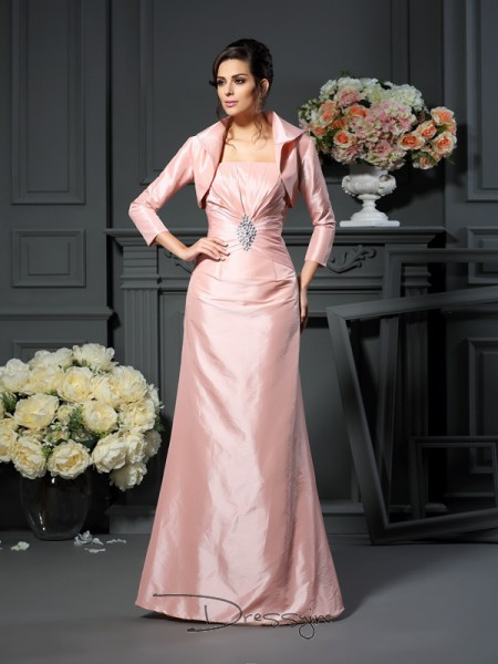 A-Line/Princess Sleeveless Taffeta Pleats Strapless Floor-Length Mother of the Bride Dresses