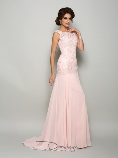 Trumpet/Mermaid Sleeveless Chiffon Beading Scoop Long Mother of the Bride Dresses