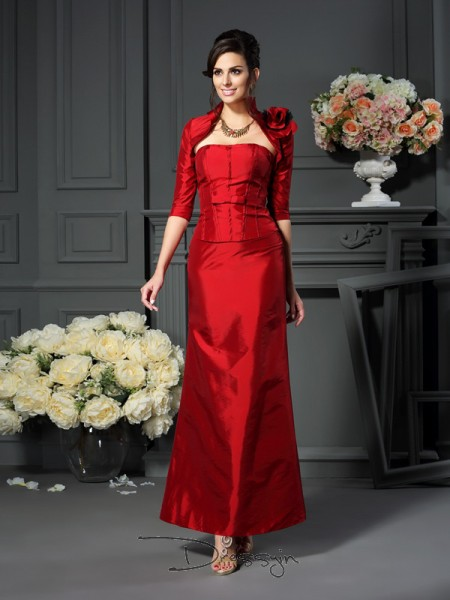 A-Line/Princess Sleeveless Taffeta Hand-Made Flower Strapless Ankle-Length Mother of the Bride Dresses